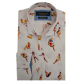 Guia de Londres Pin-up na praia imprimir camisa dos homens de manga comprida