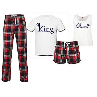 King Queen Wedding Couples Matching Pyjama Tartan Set
