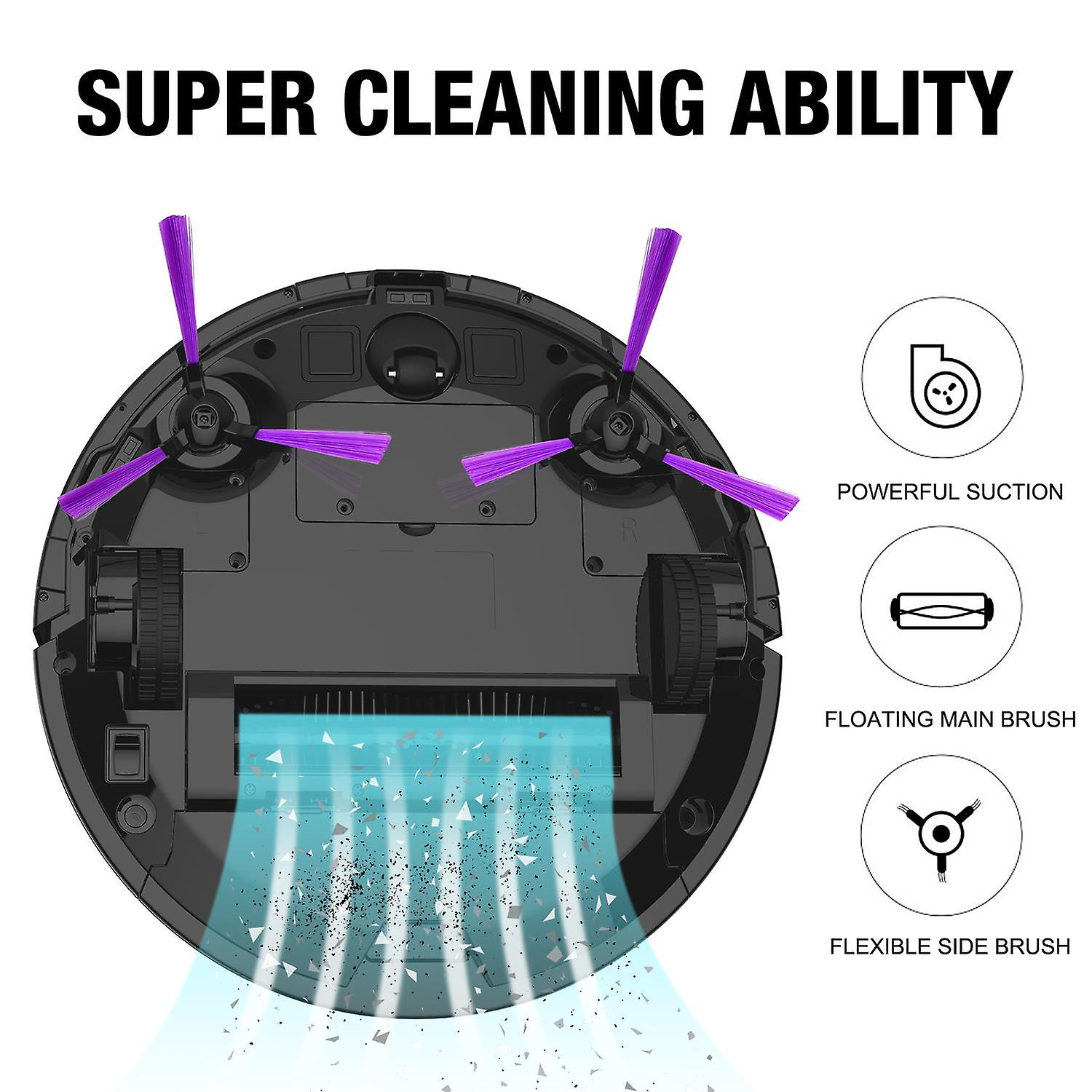 Aiibot Robotic Vacuum Cleaner, Strong Suction Infrared Sensors, Good for Pet Hair, Intelligent Cleaner with Remote Control