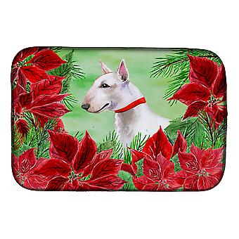 Carolines Treasures  CK1341DDM Bull Terrier Poinsettas Dish Drying Mat