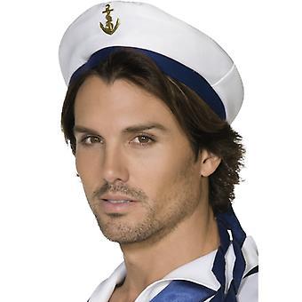 Tengerész kalap fehér, kék szalag és arany horgony