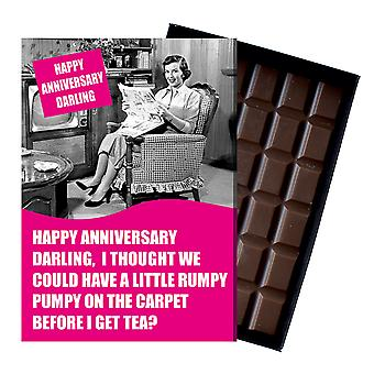 Funny Wedding Anniversary Gift For Men Husband boxed Chocolate Greeting Card Present CDL211