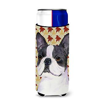 Boston Terrier Fall Leaves Portrait Ultra Beverage Insulators for slim cans SS43