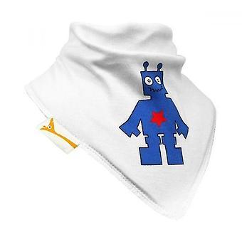 White & blue funky robot bandana bib