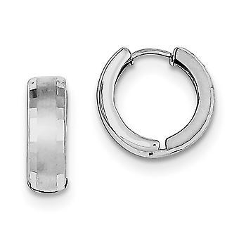 925 Sterling Argent Poli dos Rhodium plaqué Rhodium Brushed Patterned Hinged Hoop Boucles d'oreilles Bijoux Bijoux pour les femmes