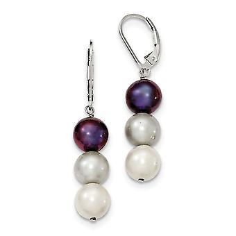 925 plata esterlina Dangle pastor gancho de agua dulce cultivado blanco platino negro perla pendientes regalos de joyería para las mujeres