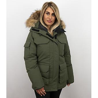 Parka jacket ladies – with fur collar – green