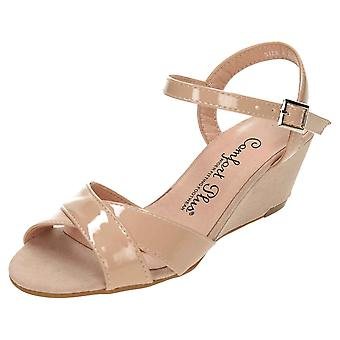 Comfort Plus Wide E Fit Slingback Wedge Open Toe Patent Suede Sandals