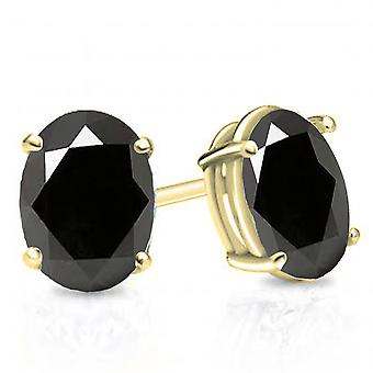 Dazzlingrock Collection 10K 7x5 mm each Oval Cut Black Sapphire Ladies Solitaire Stud Earrings, Yellow Gold