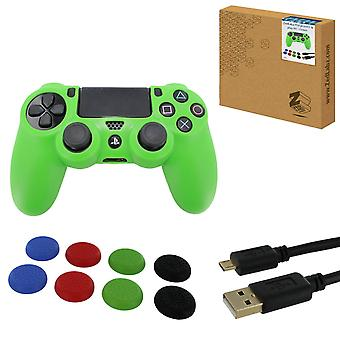 Protect & play kit for ps4 inc silicone cover, thumb grips & 3m charging cable - green