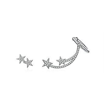 Stern Damen Ohrringe geschmückt mit weißen Swarovski-Kristall und Silber 925
