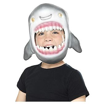 Childrens Shark Full Head Mask, Grey, EVA Fancy Dress Accessory