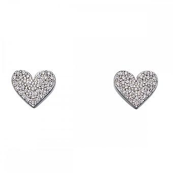 Fiorelli Silver Heart Silver And Zirconia Pave Earrings E5646C