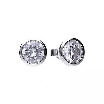 Diamonfire Silver White Zirconia Solitaire Earrings E5622