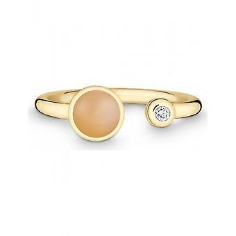 كوين -- حلقة -- السيدات -- الذهب الأصفر 585 -- أعلى دبليو (G) سي. - العرض 56 - 521191649