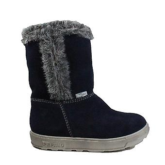 Ricosta Usky 2720100-171 Navy Suede Leather Girls Long Leg Winter Boots