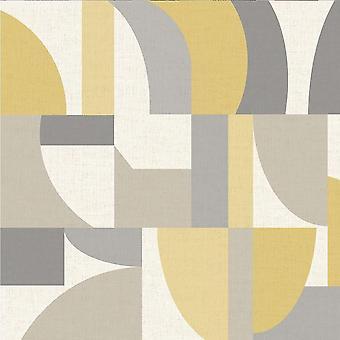 Modern Geo Ochre and Grey Wallpaper Retro Geometric Arthouse