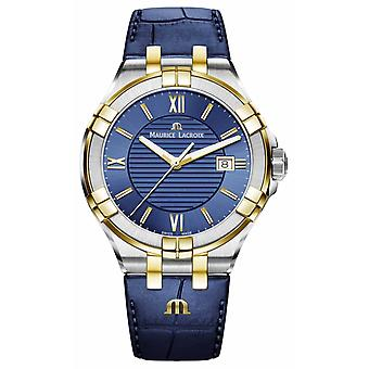 Maurice Lacroix Mens Aikon Blue And Gold Two Tone Leather Strap AI1008-PVY11-432-1 Watch