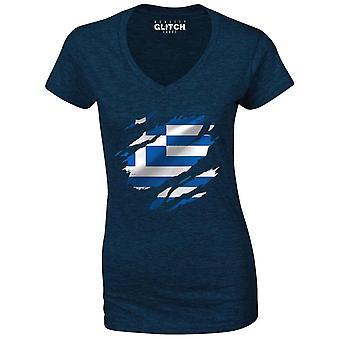 Realiteit glitch verscheurd Griekenland vlag Womens t-shirt-v-hals