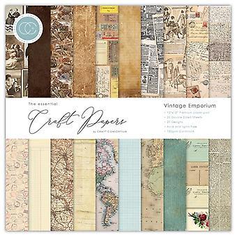 Craft Consortium Essential Craft Papers 12x12 Inch Paper Pad Vintage Emporium