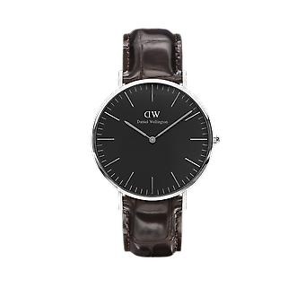 Daniel Wellington Classic Black York Stainless Steel Leather Strap Unisex Watch DW00100134 40mm Case