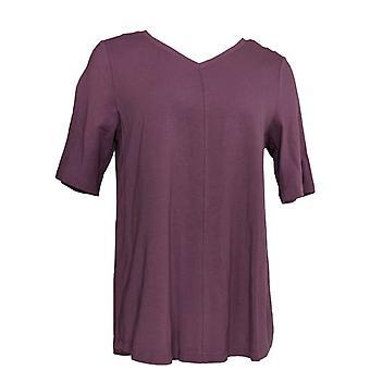 Denim et Co. Femmes apos;s Top Essential Elbow Sleeve Amethyst Purple A278986