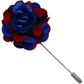 Bassin and Brown Floral Lapel Pin - Blue/Wine