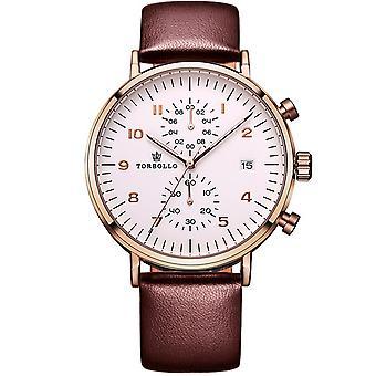 Torbollo Mens Round Quartz Luxury Homage Watch Rose Gold Watches Brown Leather UK