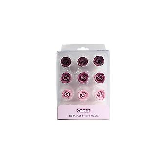 Culpitt 20mm detailhandel verpakt paarse Ombre suiker rozen-12 stuk