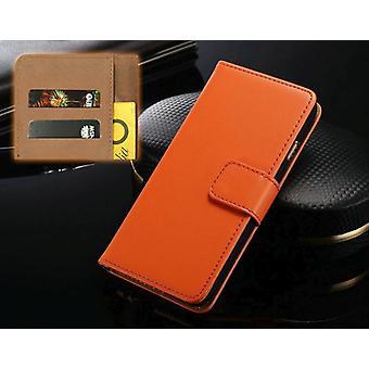 For iPhone XS, X lommebok veske, elegant slank skinn deksel kortholder, oransje