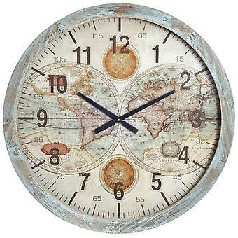 Wellindal Mdf wall clock world map 76x3x76 decape (Decoration , Clocks)