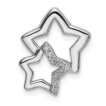 12mm 925 Sterling Silver Rhodium banhado CZ Cubic Zirconia Simulated Diamond 2 estrelas Chain Slide Jewely Gifts for Women