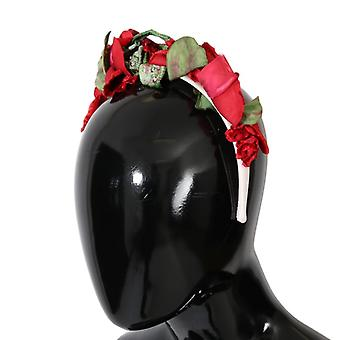 Dolce & Gabbana Red Roses Silk Studded Hair Hoofdband