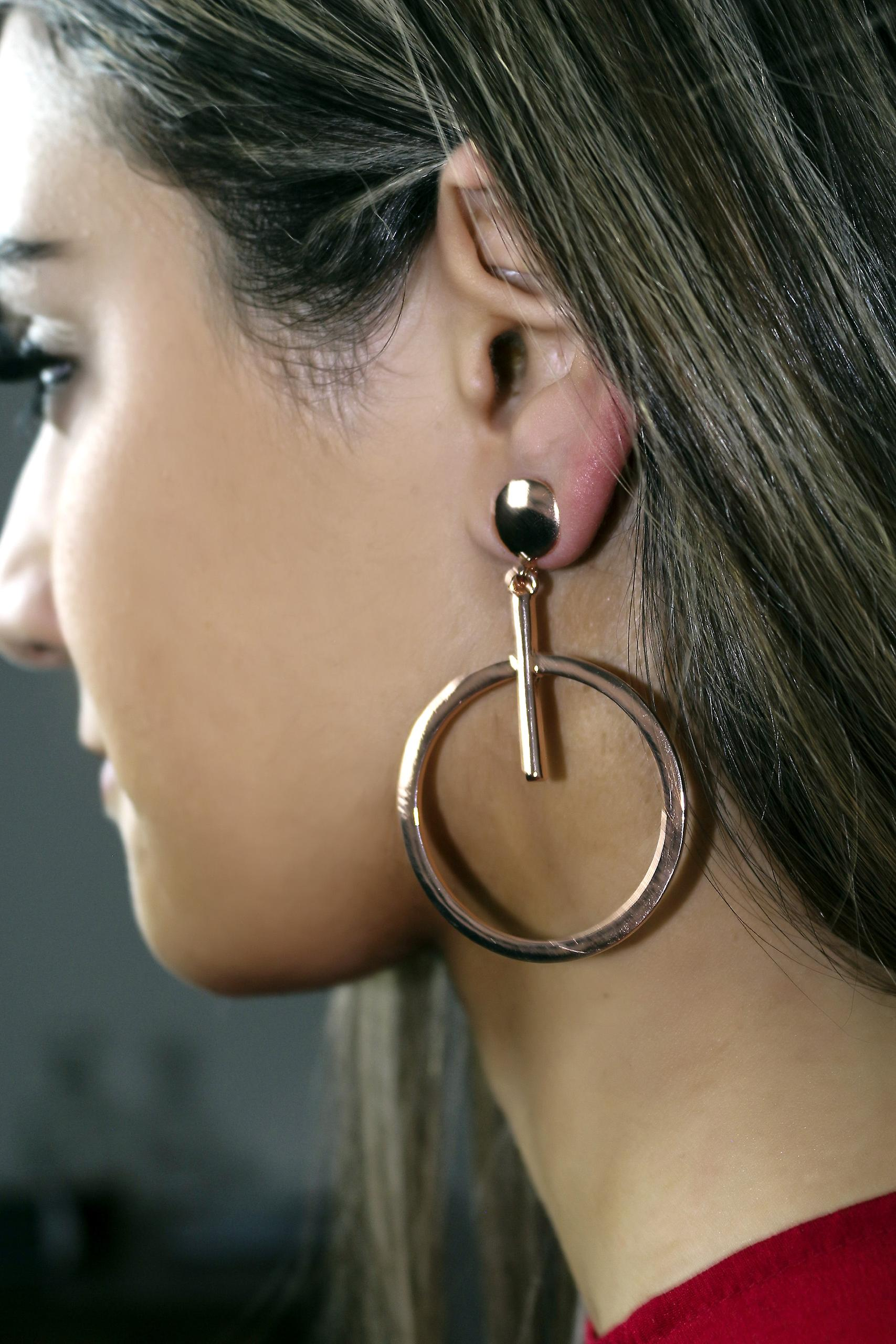 Rose Gold Earrings with Large Single Hoop and Bar