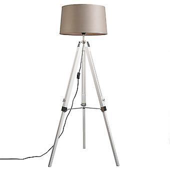 Lampada da terra QA-QA Country bianca con tonalità di lino taupe 45 cm - treppiede