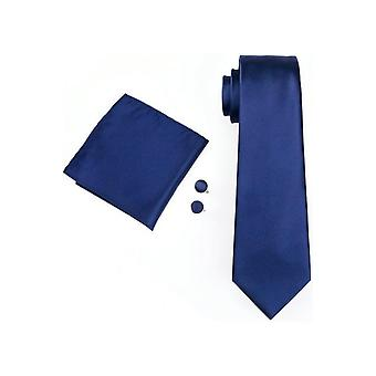 JSS Mens Plain Navy 100% Silk Pocket Square, Cufflink And Tie Set