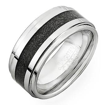 Dazzlingrock Collection Tungsten Carbide Unisex Ring Wedding Band 9MM (3/8 inch) Step Carbon Inlay Comfort Fit