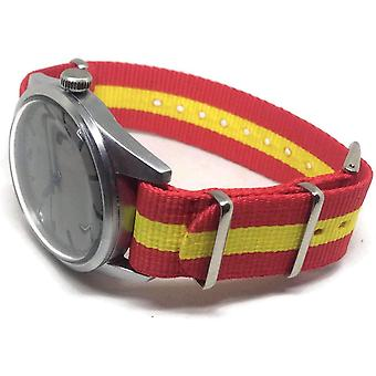 N.a.t.o zulu g10 watch strap with spanish flag size 18mm to 22mm