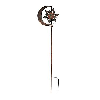 Verdigris Patina Copper Finish Celestial Sun and Moon Wind Spinner Garden Stake