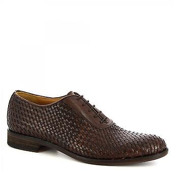 Leonardo Shoes Men's handmade elegant oxford shoes dark brown woven calf leather
