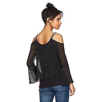 A. Byer Bell Sleeve Cold Shoulder Split Front Top, Black, Size X-Large