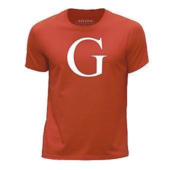 STUFF4 Boy's Round Neck T-Shirt/Alphabet Letter Initial G/Orange