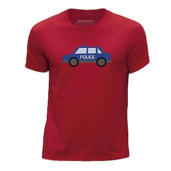 STUFF4 Boy's Round Neck T-Shirt/Police Car/Red