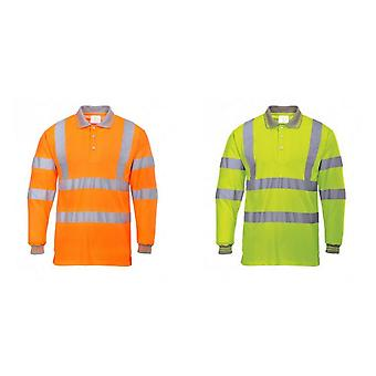 Portwest Mens Hi-Vis-Langarm-Polo-Shirt