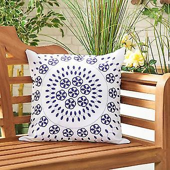 """Raj Blue Water Resistant Canvas Outdoor Scatter Tuin meubelen gevuld kussen Print 18"""" (45cm)"""