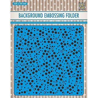 Nellie's Choice Embossing Folder Background flowers EEB026 150x150mm (11-19)