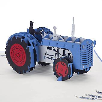Cardology Blue Tractor Pop Up Card