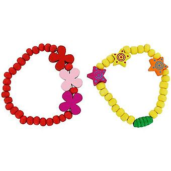 The Olivia Collection Children Pack Of 2 Red & Yellow Wood Bead Bracelets