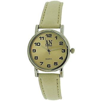AN London Ladies Beige Dial Silver Tone Case Beige PU Strap Watch 8731S/04