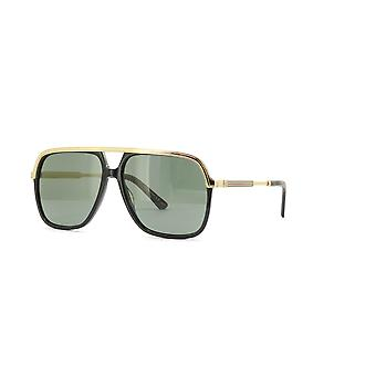 Gucci GG0200S 001 Black-Gold/Green Sunglasses